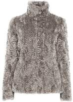 Wallis Neutral Short Faux Fur Funnel Neck Jacket