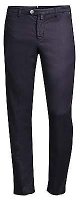 Kiton Men's Straight-Leg Flat-Front Herringbone Twill Pants