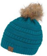 Gravity Threads CC Cable Knit Faux Fur Pom Pom Beanie Hat, Light M Grey