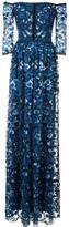 Marchesa off-the-shoulder floral-print gown