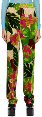 Dries Van Noten Green Velvet Flower Palaco Trousers