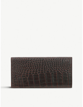 Smythson Mara crocodile-emboosed slim coat wallet