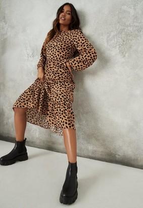Missguided Stone Dalmatian Ruffle Hem Midi Smock Dress