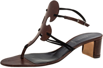 Fendi Brown/Black Satin And Leather Thong Slingback Block Heel Sandals Size 39
