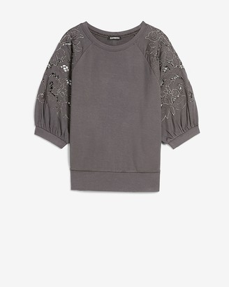 Express Metallic Embroidered Short Sleeve Sweatshirt