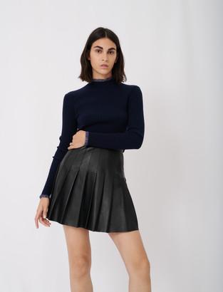 Maje Pleated leather skirt