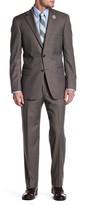 Hart Schaffner Marx Brown Pinstripe Two Button Notch Lapel Wool Suit