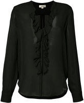 L'Agence sheer ruffle front blouse - women - Silk - XS