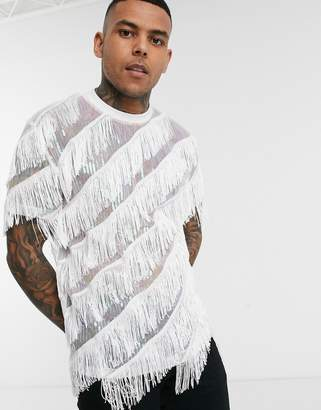 Asos Design DESIGN relaxed t-shirt with sequins and diagonal fringing in white