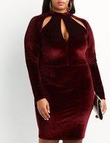Charlotte Russe Plus Size Velvet Mock Neck Cut-Out Dress