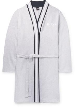 HUGO BOSS Striped-Trimmed Ribbed Melange Cotton Robe - Men - Gray
