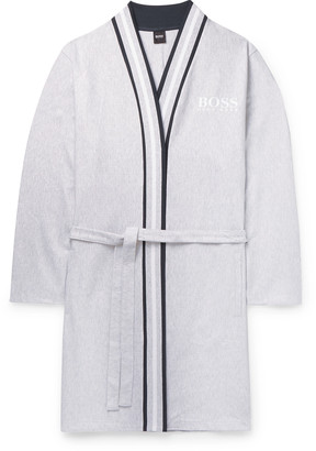 HUGO BOSS Striped-Trimmed Ribbed Melange Cotton Robe