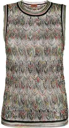 Missoni geometric pattern knitted top