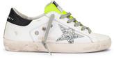 Golden Goose Superstar Sneaker in White Leather, Silver Glitter & Fluorescent   FWRD