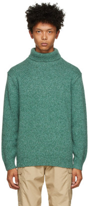 Beams Green Wool and Cashmere Turtleneck