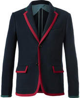 Gucci Blue Cambridge Contrast-Tipped Stretch Wool and Cotton-Blend Blazer