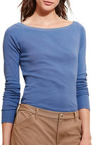 Lauren Ralph Lauren Petite Solid Cotton-Blend Long Sleeve Tee