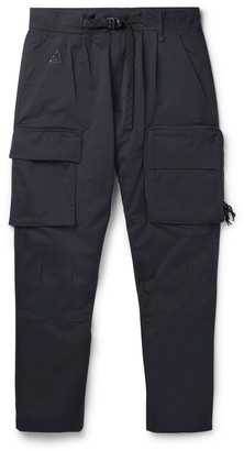 Nike Acg Nrg Tapered Belted Cotton-blend Twill Cargo Trousers - Black