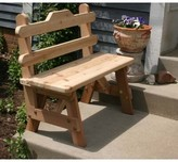 "Tillison Cedar Tab Back Bench August Grove Size: 34"" H x 72"" W x 24"" D, Color: Cedar Stain/Sealer"