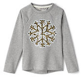 Lands' End Little Girls Embellished Cozy Sweatshirt-Sparkling Snowflake