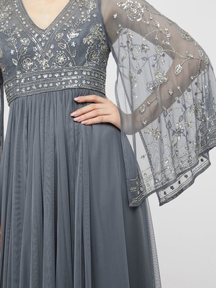 Monsoon Fleur Embellished Flute Sleeve Dress - Blue