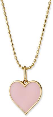 Sydney Evan 14k Enamel Heart Charm Necklace, Blush