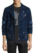 PRPS Distressed Camo Moto Jacket, Indigo
