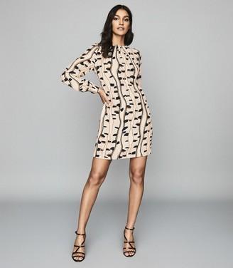 Reiss STEVIE SNAKE PRINTED SHIFT DRESS Neutral