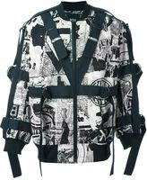 Kokon To Zai newspaper print strapped bomber jacket - men - Cotton - S