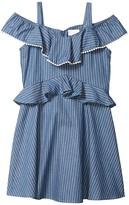 BCBGMAXAZRIA Girls Girls Lightweight Denim Ruffle Dress w/ Pom-Pom (Big Kids) (Indigo Stripe) Girl's Dress