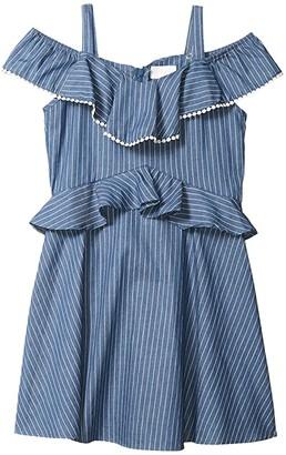 BCBG Girls Lightweight Denim Ruffle Dress w/ Pom-Pom (Big Kids) (Indigo Stripe) Girl's Dress