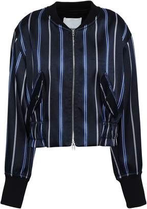 3.1 Phillip Lim Cropped Striped Satin-twill Bomber Jacket
