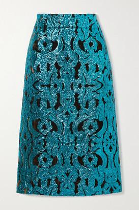 Dries Van Noten Sequined Velvet Midi Skirt - Turquoise
