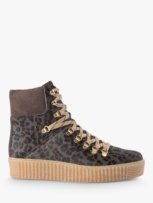Shoe The Bear Agda Pony Skin Leopard Print Lace Up Hiker Boots