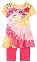 Flapdoodles Sparkle Tie-Dye Dress & Leggings Set