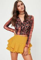 Missguided Yellow Full Frill High Waisted Shorts, Yellow