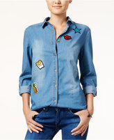 Say What ? Juniors' Patch Chambray Shirt
