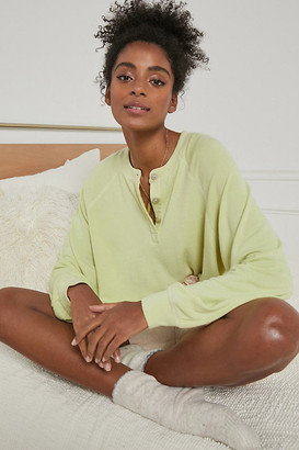 Cara Contrast-Stitch Pullover By Nia in Green Size S