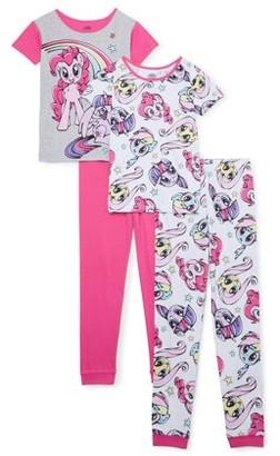 My Little Pony Girls Tight Fit Pajamas, 4-Piece Set, Sizes 4-18