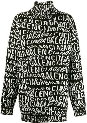 Balenciaga Turtleneck Logo Sweater