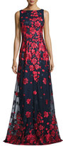 David Meister Sleeveless Embroidered Tulle Gown, Red/Blue