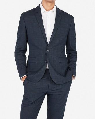 Express Extra Slim Plaid Navy Wrinkle-Resistant Stretch Suit Jacket
