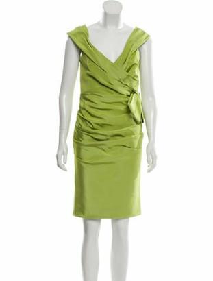 Roland Nivelais Silk Off-the-Shoulder Dress Lime