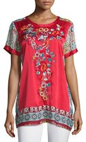 Johnny Was Yokito Embroidered Combo Tunic, Red/Multi, Petite