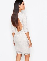Honor Gold 3/4 Sleeve Lace Bodycon Dress With Cut Out Back