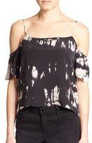 Gypsy 05 Tie-Dye Silk Cold-Shoulder Blouse