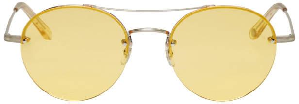 Garrett Leight Silver Beaumont Aviator Sunglasses