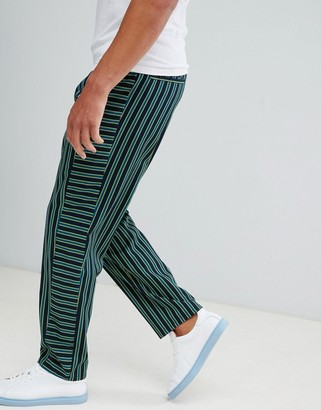 Asos Design DESIGN relaxed trousers with contrast stripe panel-Navy
