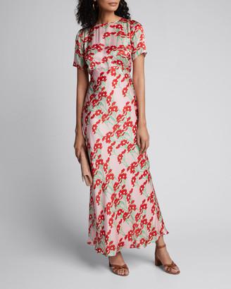 BERNADETTE Jane Daisy-Print Short-Sleeve Satin Maxi Dress