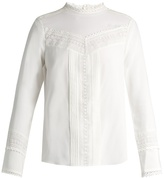Rebecca Taylor Lace-trimmed stretch-silk blouse